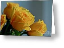 Yellow Roses Greeting Card by Ann E Robson