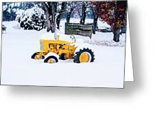 Yellow Tractor In The Snow Greeting Card