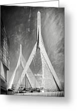Zakim Bridge Boston Massachusetts Black And White Greeting Card