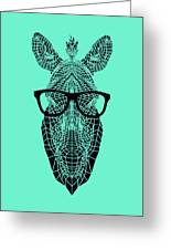 Zebra In Glasses Greeting Card