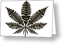 Zebra Pattern Marijuana Leaf 2 Greeting Card