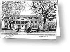 Zeta Tau Alpha Sorority House, Purdue University, West Lafayette, Indiana, Fine Art Print Greeting Card