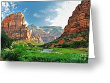 Zion Canyon, With The Virgin River Greeting Card