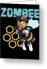 Zombee Zombie Bee Halloween For Beekeeper Apiarist Dark Light Greeting Card