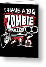 Zombie Repellent Halloween Funny Gun Art Dark Greeting Card