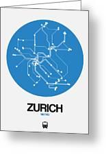 Zurich Blue Subway Map Greeting Card