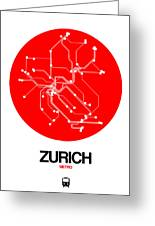 Zurich Red Subway Map Greeting Card