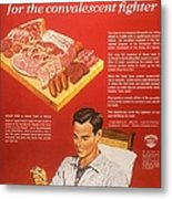 1940s Usa Convalescents Meat Eating Metal Print