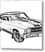1971 Chevrolet Chevelle Ss Illustration Metal Print
