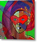 394 - Challenging Woman With Mask Metal Print