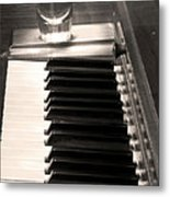A Shot Of Bourbon Whiskey And The Bw Piano Ivory Keys In Sepia Metal Print