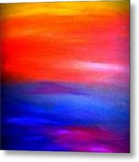 Abstract Painting Original Canvas Art  Sunset By Zee Clark Metal Print
