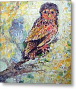 Acrylic Painting Fuzzy Yellow Owl  Metal Print