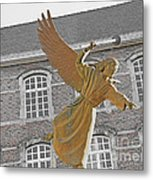Angel In Gaz Masque Pointing To The Public Metal Print