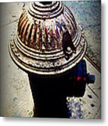 Antique Fire Hydrant - Blue Tones Metal Print