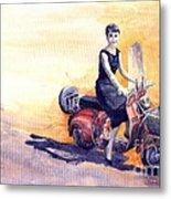 Audrey Hepburn And Vespa In Roma Holidey  Metal Print by Yuriy  Shevchuk