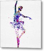 Ballerina Dancing Watercolor 2 Metal Print