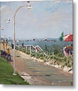 Beach Border Walk In Norfolk Va Metal Print