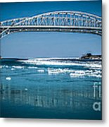 Blue Water Bridges With Reflection And Ice Flow Metal Print