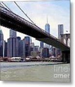 Nyc Skyline-brooklyn Bridge Metal Print