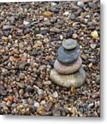Cairn On Wet Pebbles Metal Print