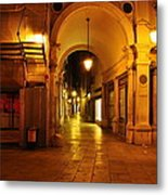 Clock Tower Venice Italy And The Path To Merceria Metal Print