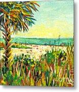Crescent Beach Palm Metal Print