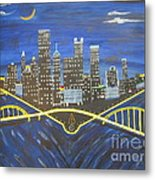 Crescent Over Pittsburgh  Metal Print