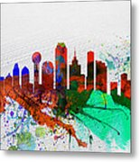 Dallas Watercolor Skyline Metal Print