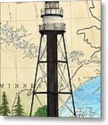 Duluth Harbor S Breakwater Inner Lighthouse Mn Nautical Chart Art Metal Print