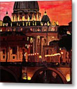 Eternal City  Rome St Peter Vatican At Dusk Metal Print