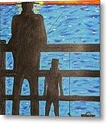 Father And Son Fishing Metal Print