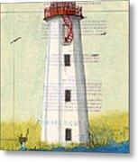 Faulkner Island Lighthouse Ct Nautical Chart Map Art Metal Print