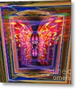 Flaming Butterfly Mixed Media Painting Metal Print