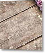 Flower Frame On On Wood Background Metal Print