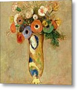 Flowers In A Painted Vase Metal Print by Odilon Redon