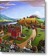 Folk Art Blackberry Patch Rural Country Farm Landscape Painting - Blackberries Rustic Americana Metal Print