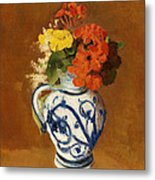 Geraniums And Other Flowers In A Stoneware Vase Metal Print