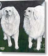 Great Pyrenees Dogs Night Sky Cathy Peek Animal Art Metal Print