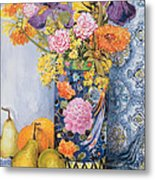 Iris And Pinks In A Japanese Vase With Pears Metal Print