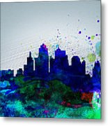 Kansas City Watercolor Skyline Metal Print