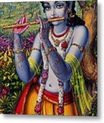 Krishna With Flute  Metal Print by Vrindavan Das