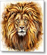 Lion Head In Front Metal Print