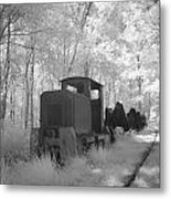 Locomotive With Wagons In Infrared Light In The Forest In Netherlands Metal Print by Ronald Jansen