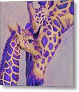 Loving Purple Giraffes Metal Print