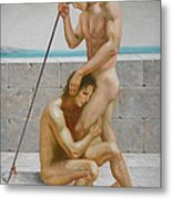 Original Man Body Oil Painting  Gay Art -two Male Nude By The Sea Metal Print