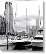 Marina In Black And White Metal Print