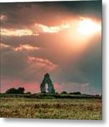 Midley Church Ruins At Sunset Metal Print