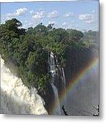 Mist And Rainbow At Victoria Falls Metal Print