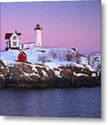 Nubble Light Under A Pastel Winter Sky Metal Print